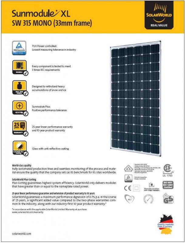 Comprar Panel Solar 315w Aleman SolarWorld