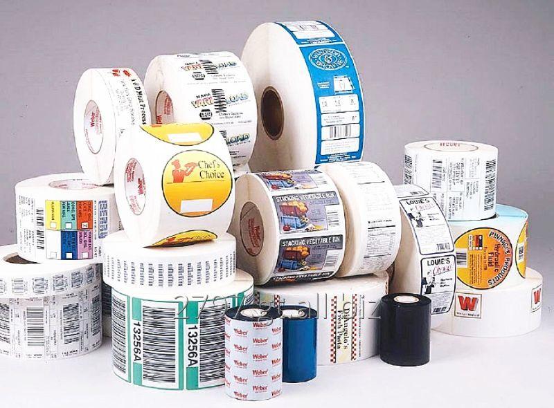 Comprar Etiquetas adhesivas en rollo, tape impreso, codigos de barra