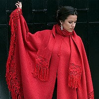 Poncho Red Sunrise Elegance