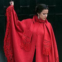 Poncho Red Sunrise Elegance