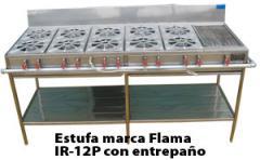 Estufa marca Flama IR 12P con entrepaño