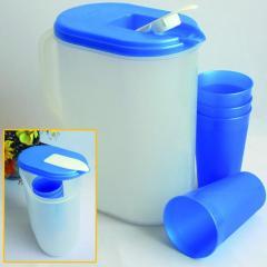Pichel Plástico con 4 Vasos
