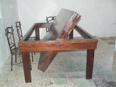 Mesa de comedor de billar de madera